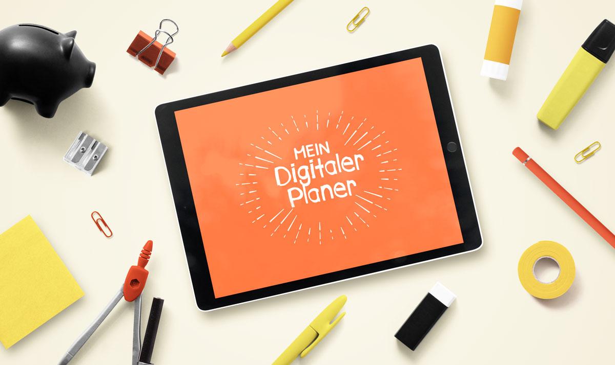 Bild eines Tablets mit digital planner