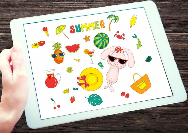 Sommer Sticker Urlaub für PDF Planer